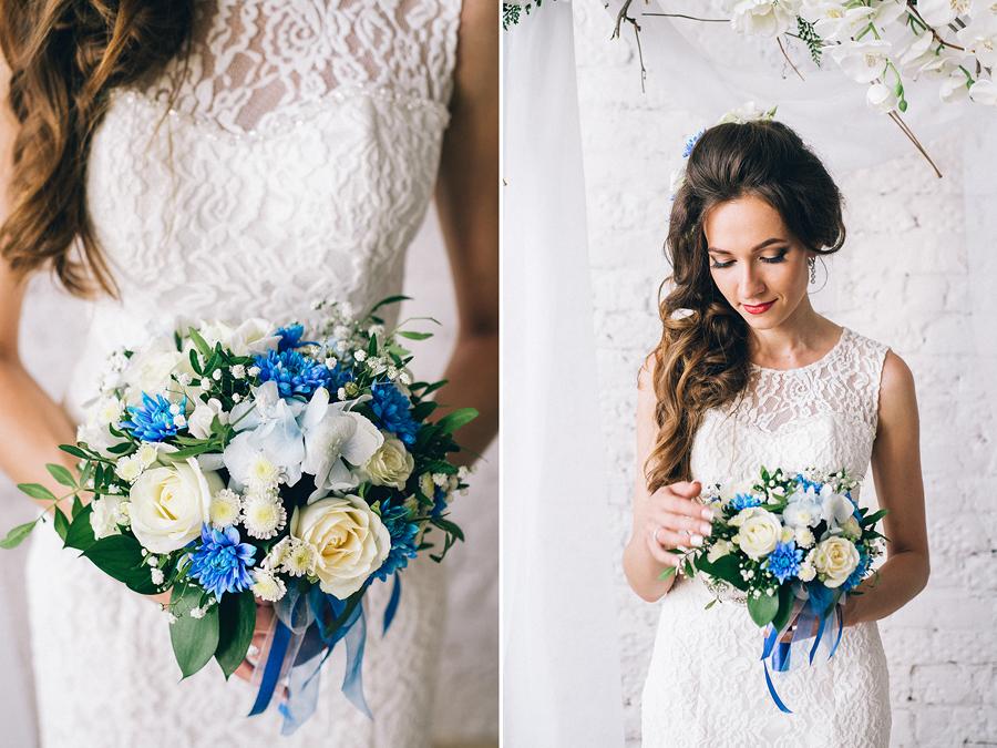 букет невесты с голубыми цветами