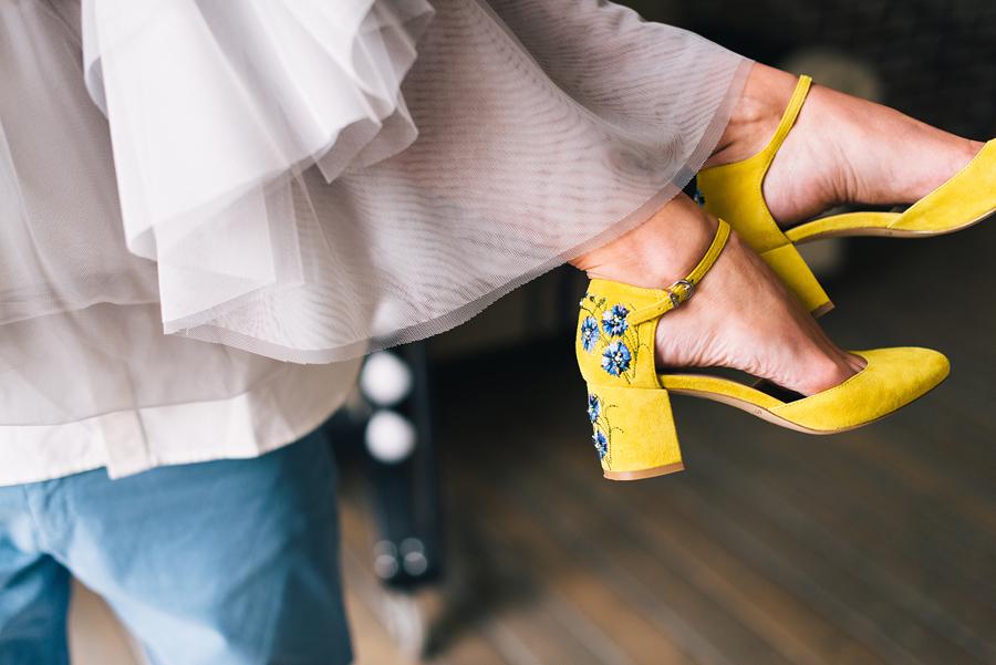 эконика жёлтые туфли с васильком