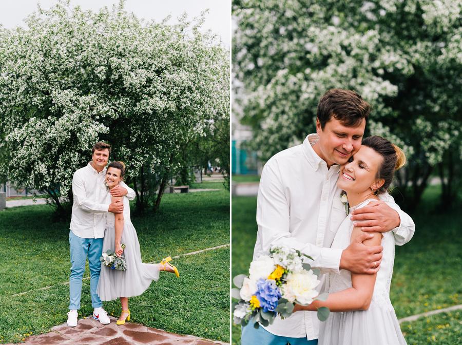 свадебная фотосессия в яблонях